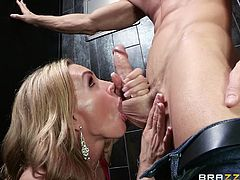 Muscled dude Sins gets lucky with this sensual blonde milf, Tate. The blonde is aroused by his body and wants him deep inside her. She was starving for cock and now she will take full advantage of this situation. The bitch kneels and sucks his dick passionately and then bends over to receive it from behind