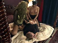 Sebastian is a fucking bitch boy and he's going to be pounded by three harsh transsexual mistresses. They each take turns face fucking him and then they bend him over so they can access his tight asshole. His anus is going to be so sore after this.