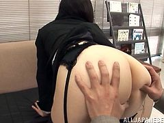 Instead of filing the latest reports, Japanese office worker Yuuka Tsubasa is sitting on her bosses face and making him eat her pussy. He is pleased with her work so in goes the sex toy up in that sexy anus.