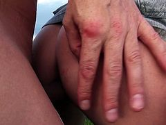Slutty brunette takes off her sexy dress and starts to suck the cock on the grass. Have a look in steamy Mofos Network xxx clip.
