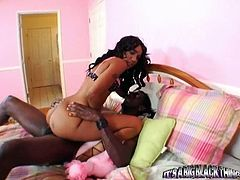 Bootylicious ebony chick Kapri rides long black bonker in reverse cowgirl pose
