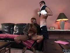 Wouldn't you just love to stick your cock between his ebony transsexual's heaving bosom? Well, it's this hunks lucky day because he gets to do just that. Look as she sucks his balls and give him a blowjob while stroking her big thick shemale penis. He thrusts hard and fast as she pushes her boobs together for his dick.