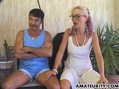 A very naughty blonde amateur French Milf does anal with her husband ! Nice cumshot in her mouth ! Homemade action...