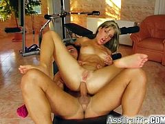 After her workout this tight, sexy hottie's personal trainer hammers her shaved pussy then drills her right in the asshole.