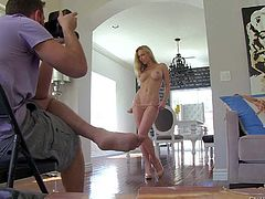 Kayden Kross is s beautiful adult model with well shaped tits and perfect long legs. This behind the scenes video features her posing in string thong. Great photo shoot with a beauty!