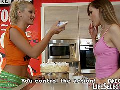 Messy girls get in a sugar high spasm! Tina Blade and Chary Kiss plays a kinky food fight & domination game... and they'll be punished for it! It's high time for them to learn some manners!