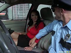 Oh no, mommy Dayton got in trouble with the police! She exceeded the speed limits and now the cop pulled her over and want to give this busty bitch a ticket. Well, luckily she knows how to handle men and this dude is no exception. Using her big, sexy breasts Dayton takes care of her ticket and the guy's cock!