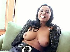 Adriana Luna is taking off clothes and lingerie making her most magnetic parts visible to Eric Swiss. She takes his penis in mouth then and starts sucking it like a candy.