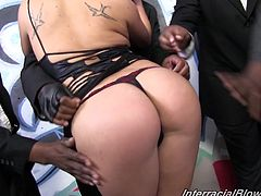 Gorgeous Asian chick Lia Lor is having fun with many black and white men indoors. She shows her blowjob and handjob talents to the men and gets a bukkake.