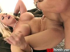 Young and sexy blonde haired girl Savanah Gold gives her BF a nice titjob and blowjob and gets her tight holes fucked hard.