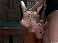 Well now, take a look at what we have over here! It's miss Veronica and she's all tied up! This sexy brunette has one hell of a body and frankly, she looks good tied up and in pains. Her executor loves to taunt such a body and starts out with her boobs. After torturing them he mouth fucks her and then drills her cunt