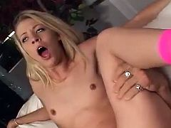 A beautiful blonde shows her nice pussy in close-up scenes. She also sucks big fat cock and gets fucked hard. She moans loudly because she loves rough sex.