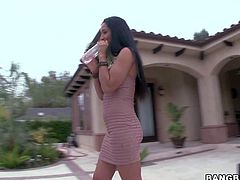 Busty sexy milf Isis Love and sweet young girl Belle Noire have a nice time playing together by the pool. They touch each others juicy tits and lick each others assholes eagerly!