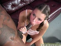 Have a good time watching this brunette in pigtails, with a nice ass wearing cute panties, while she goes hardcore over a couch in a reality clip.