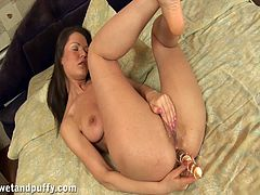 Sexy Alicia fondles her perky tits and pussy lips to get horny. She sucks a dildo to make it as wet as possible. This babe toys both holes.