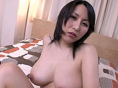 This hottie lays on the bed and opens her legs wide, for you to see. She spreads her pussy lips open with her fingers and then, inserts the vibrator into her cunt hole as deep, as she can. She bends over and keeps playing with her sex toy, so we can see her ass.