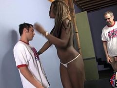 Kinky black hussy Milan Sterling takes her dress off and shows her body to a few men. Then she sucks and rubs their dicks and stops only when all cocks explode with cum on her face.