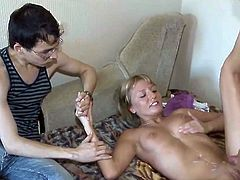 This young chick wanted to get laid but her boyfriend's private part was still sore after the circumcision so he offered her to fuck another boy with just 1 condition - he will be watching. Was it the spontaneous x-rated measure or he's been having that dirty fantasy for some time already? He won't tell but he came best inside his pants watching his girlfriend have fucked from behind by some random dude they picked up onto the Internet.