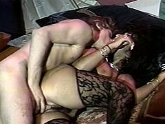 Busty slut looks hot and sexy wearing black lingerie and lacy stockings. She rides hard shaft in cowgirl position before getting drilled deep in her ass from behind.
