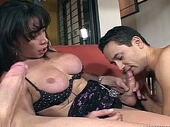 Make sure you have a look at this hot scene where this horny shemale is fucked by two guys in a threesome that leaves her covered by semen.
