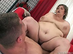 Light head old plump pervert bitch got her smelly saggy fat twat energetically snatched on red sofa by strong long dicked dude. For what he received deep throat blowjob from this ugly fat chick. Watch this puke-inducing fuck with old slut in Fame Digital porn clip!
