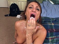 Make sure you check out this hardcore scene where the horny Jillian Foxxx ends up with a mouthful of cum after being gangbanged.
