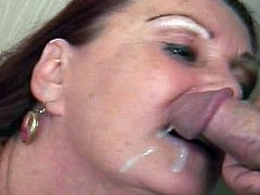 Enjoy this lovely mature babe with amazing tits blowing cock like a true master