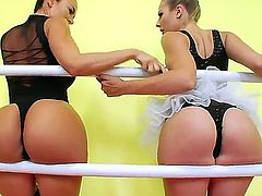 Cute babes Chastity Lynn and Franceska Jaimes decide to have a more intense training with each other that includes pussy licking and ass licking right in the training room