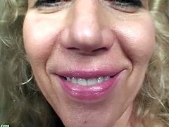 Karup's Older Women brings you a hell of a free porn video where you can see how a mature blonde slut dildos her tight pussy into kingdom come while assuming very hot poses.