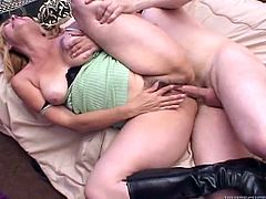 Take a look at this hardcore scene where thie slutty mature blonde has her hairy pussy drilled by this guy's thick cock as you hear her moan.