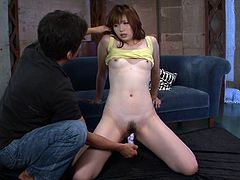 Mami Yuuki gets her unshaved and wet pussy fucked with toys and gets loads of warm man's juice all over her face in asian groupsex.