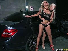 Watch out, these babes are mean and classy! They're the kind of girls that know what they want and this time, they simply want to fuck. The blondes are in their car and they pull over for a fuck. Look at them getting out from the car and fucking wildly. Pussy licking and ass fingering are just the warm up part!