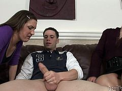 Check out as these two horny hotties suck on this dude's hard cock and then get it shoved balls deep into their cunts.
