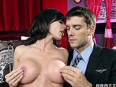 She's dressed decent and looks like a respectable lady but this brunette mom checked in for a special night in this hotel. After she entered and putted her things in order, Kendra started to unleash her inner whore with Ramon. She made him horny with her huge boobs and sex drive, surely, they will fuck insanely!