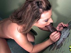 Check out this gloryhole video where the slutty Bailey Brooks ends up with a mouthful of cum after sucking a big cock.