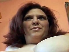Fat chick with huge boobs plays with her pussy lying on a sofa. Later on she gives a blowjob to a Black guy and gets her pussy fucked harder than ever before.