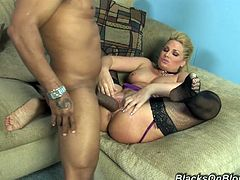 Salacious blonde milf Flower Tucci admires some black dude with her cock-sucking skills. Then she sits down on his weiner and then fuck in cowgirl position.