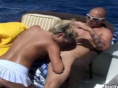 Cheyanne has the best vacation in her life. She sunbathes on a yacht and drink cocktails all day long. In addition she can have sex at anytime. Some bald dude fucks her soaking pussy every time she wants it.