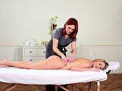 Siri is a professional masseuse but when she has a blonde such as Mandy under her hands, she leaves her professionalism and starts acting slutty. The blonde chick is hot and turns on Siri. She rubs her hands all over her body and gives some extra attention to that naughty butt. Let's see what else she will massage!