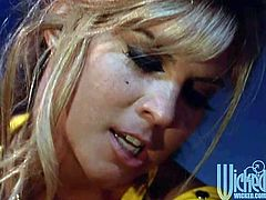 Jill Kelly and PJ Sparxx are two sizzling strippers. They have lesbian sex right in a strip club on a stage. Girls finger each others pussies and kiss.