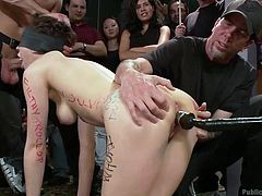 We don't know what this bitch did to receive such a disgrace but surely, what;s happening to her is fucking hot! They've wrote insults on her body, blindfolded and fucked her with a big dildo. Now one guy takes her in his hands, more exactly her head, and feeds this slut with his dick. More will happen with her!