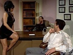 She loves threesome sex in her office and that's why she took these two there. Blowjob is what strikes them first and they bang her.