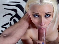 Watch Stevie Shae end up with a mouthful of cum in this great POV where this gorgeous blonde plays with her wet pussy before sucking this guy's thick cock.