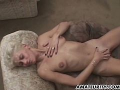 Skinny blonde mom is playing dirty games with three dudes in a hot gangbang scene. She sucks and rubs their weiners and then gets her cunt slammed in missionary and other positions.