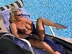 Sizzling outdoor pussy drilling as horny blonde momma takes sweet cock by the pool.