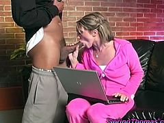 Sex addicted White chick sucks big black cock with pleasure. Then she strips her clothes off and gets her hot pussy fucked in close-up clip. The guy cums in her mouth and she swallows it all.