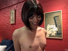 Kendra is a kinky shemale slut who is going to dominate John and show him a good time. She sticks her cock in his mouth and make shim suck her delicious cock and then she runs her hands all over his stiff erection.