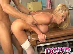 Share this with your friends! Watch a blonde cougar, with big knockers wearing a sexy nurse costume, while she gets banged hard by a lucky guy!