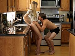 He has a very cute chick, blonde and slim, his girl always makes his dick rock solid. Check out this lovely young couple how they fool around in the kitchen and then get serious in the bedroom. Things get hotter as the blonde spreads her thighs for her boy. She offers him a shaved, tight pussy and gets it stuffed!