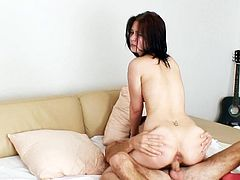 Screaming slut feels intense pressure while having her pussy nailed hard